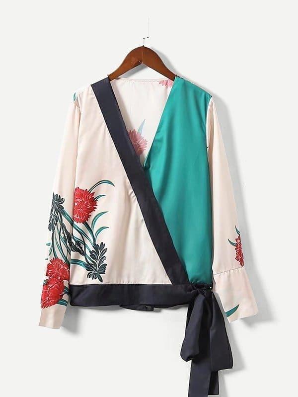 Satin Contrast Trim Wrap Blouse contrast lace wrap blouse