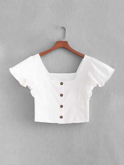 Butterfly Sleeve Button Through Crop Blouse