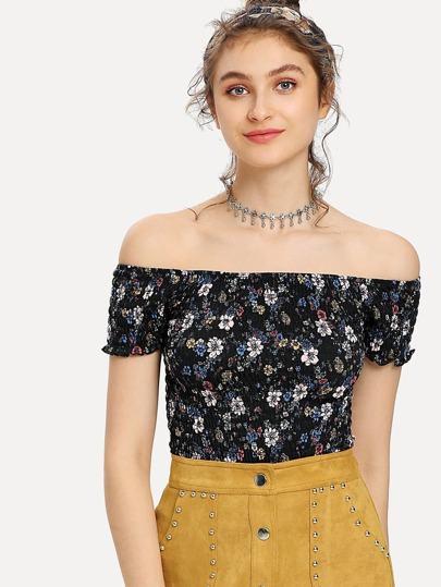 Calico Print Frill Trim Bardot Shirred Top