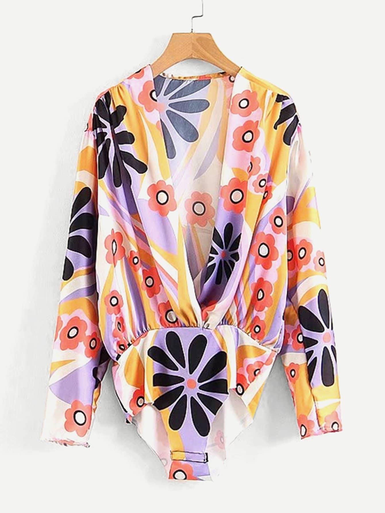 All Over Florals Surplice Blouse Bodysuit all over florals dip hem shirt