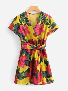 All Over Florals Twist Detail Wrap Dress