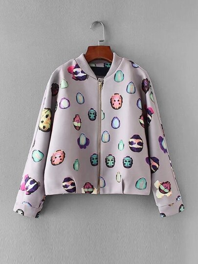 Beatles Pattern Dolman Sleeve Jacket