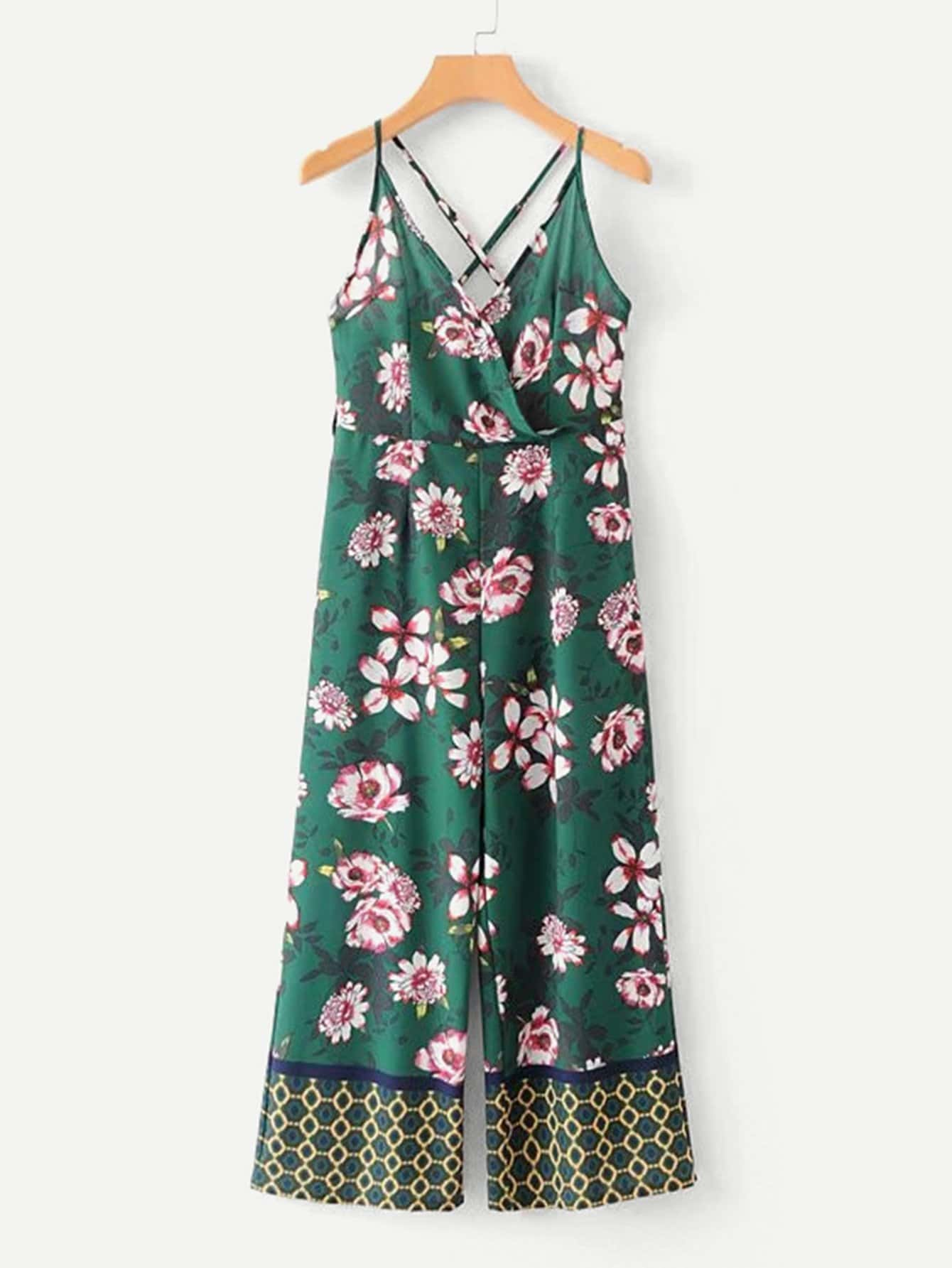 All Over Florals Surplice Wide Leg Jumpsuit all over florals shirt