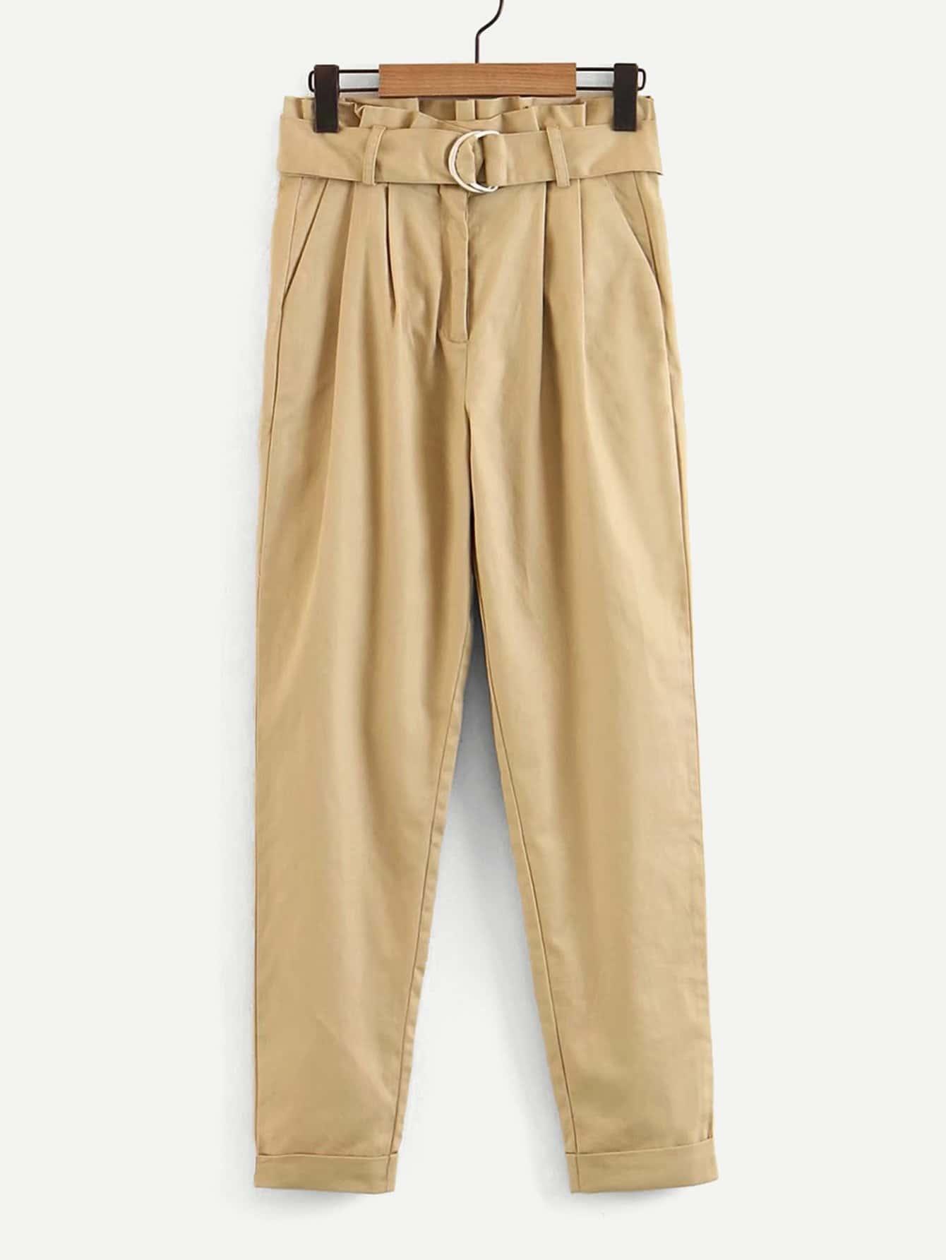 Belted Rolled Hem Pants solid rolled hem pants