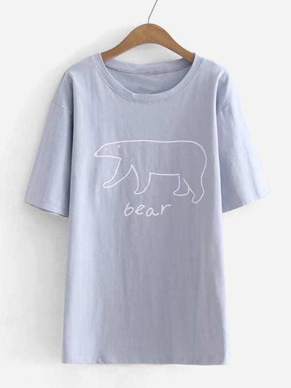 Bear Print Drop Shoulder Tee