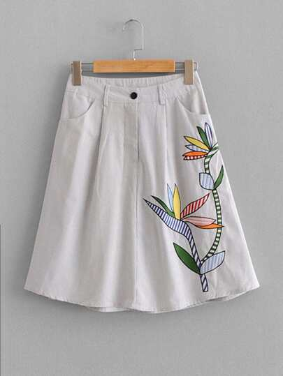 Pinstriped Embroidery Skirt