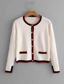 Contrast Stripe Trim Knit Cardigan