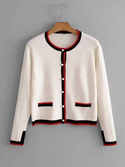 Contrast Stripe Trim Knit Cardigan