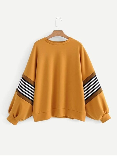 Stripe Panel Dolman Sleeve Pullover