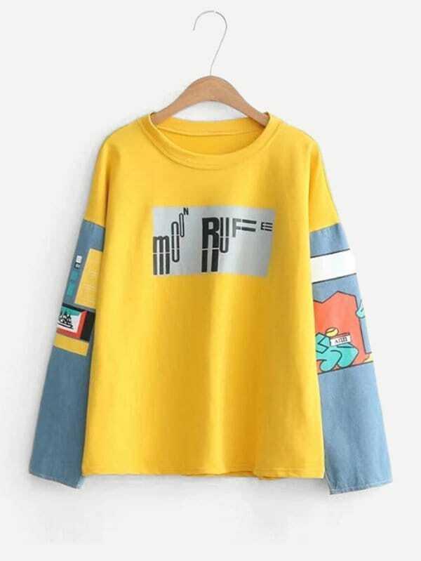 Cartoon Pattern Drop Shoulder Pullover two tone drop shoulder sweatshirt