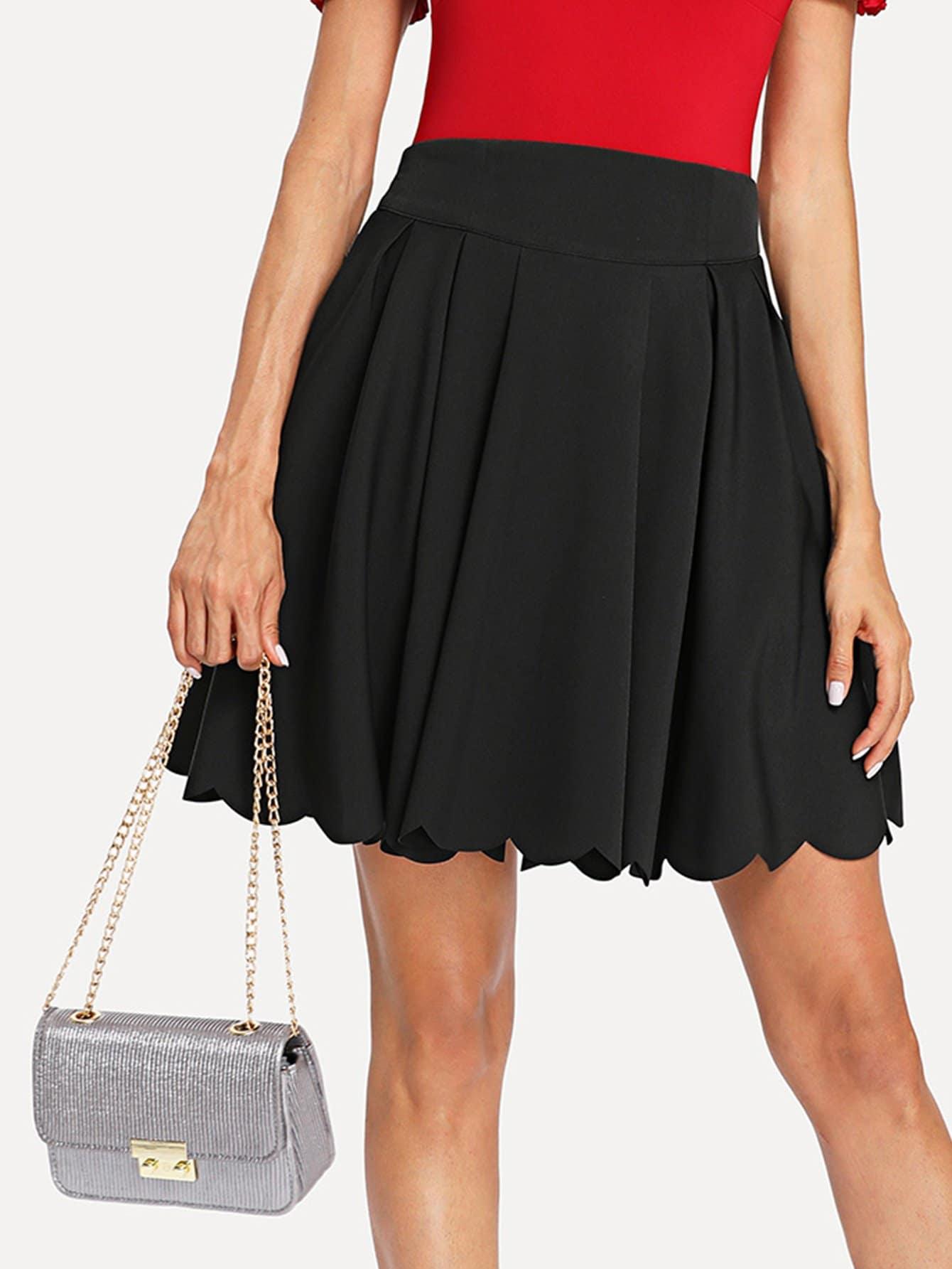 Scallop Edge Box Pleated Skirt box pleated grid skirt
