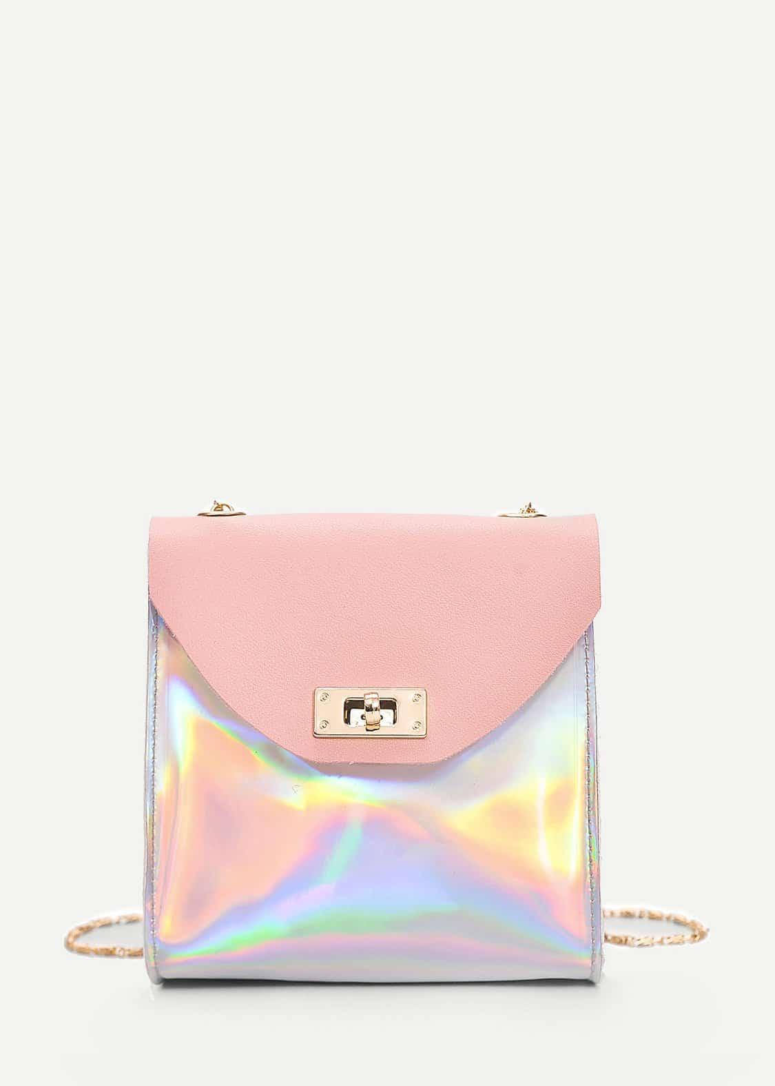 Iridescent Twist Lock Crossbody Bag iridescent tote bag