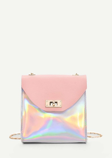 Iridescent Twist Lock Crossbody Bag