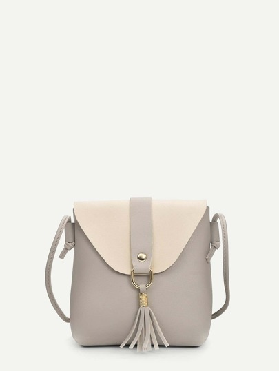 Tassel Decor Two Tone Crossbody Bag