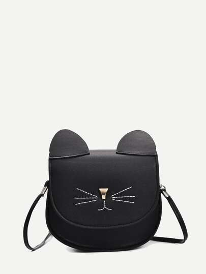 Cat Design Seam Detail Crossbody Bag
