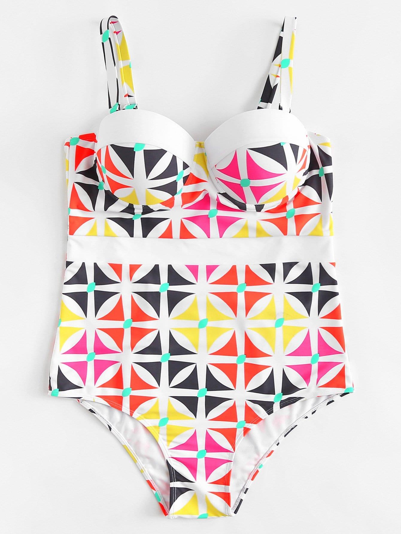 Cutout Knot Back Geo Bustier Swimsuit knot cutout high cut swimsuit