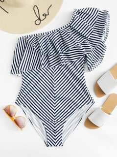 Plus One Shoulder Ruffle Striped One Piece Swimsuit