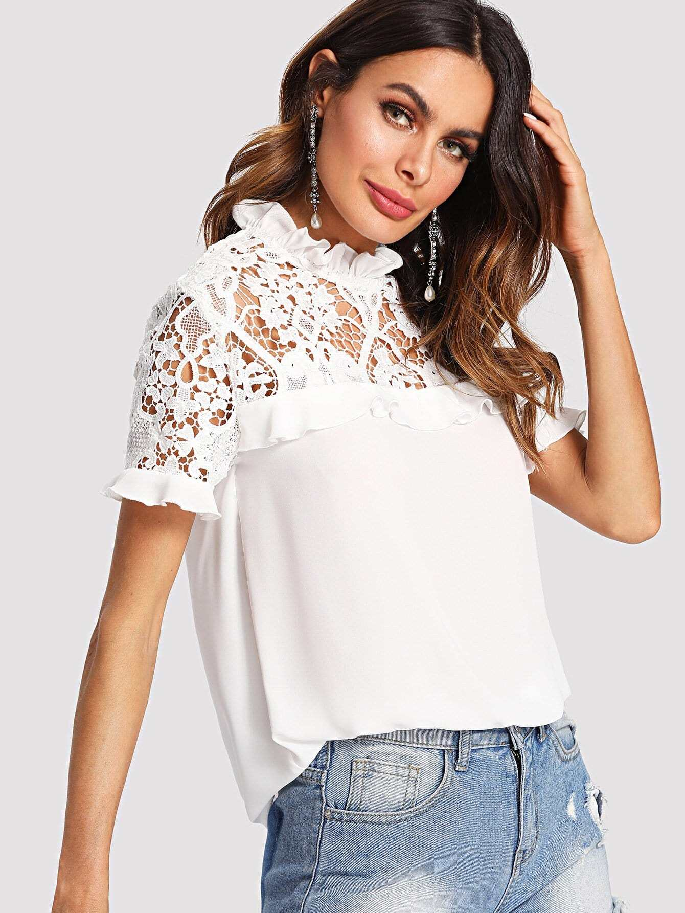 Floral Lace Yoke Ruffle Trim Top knot front floral lace yoke top