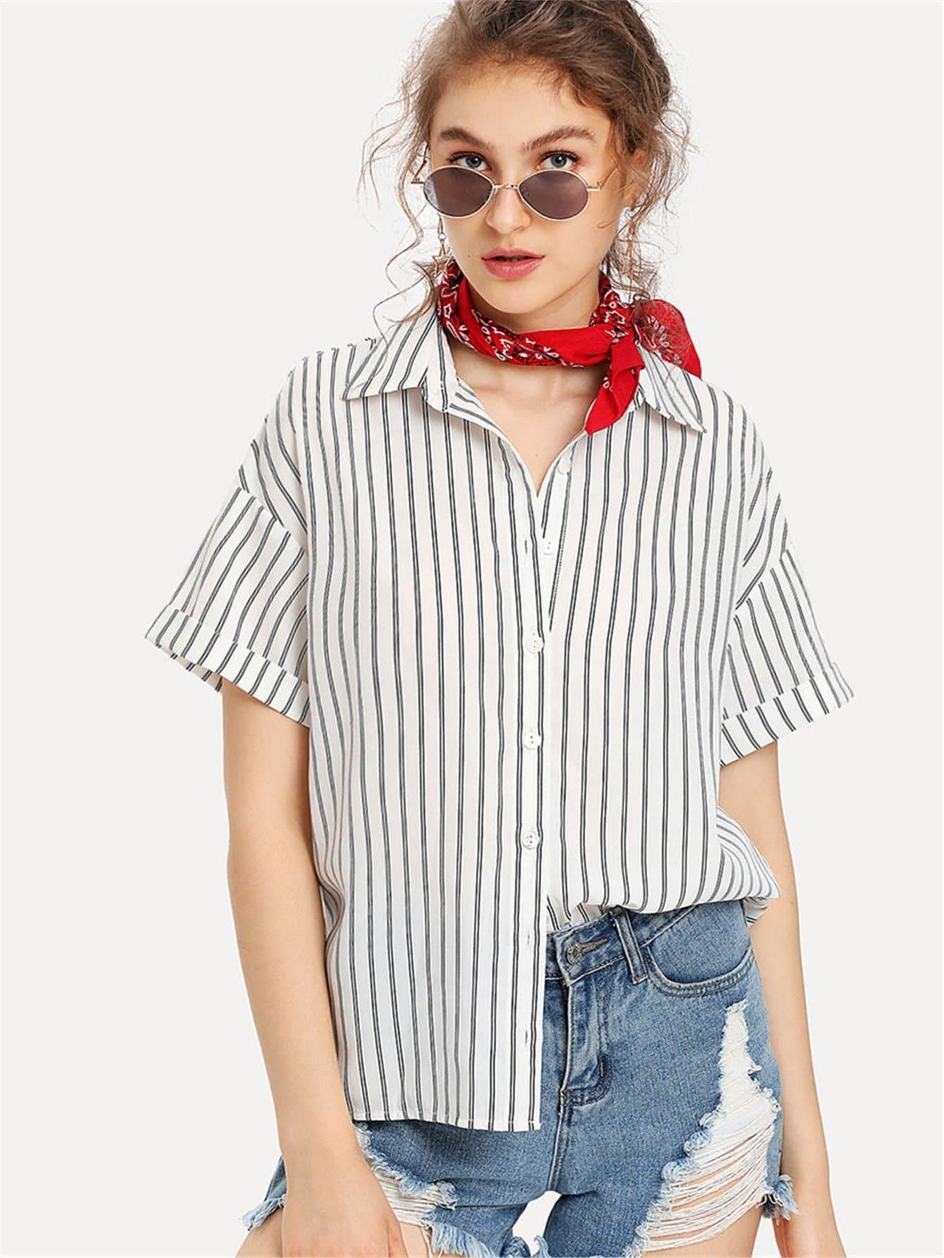 Roll Up Sleeve Striped Shirt stoosh new salmon juniors roll tab sleeve plaid shirt s $34 dbfl