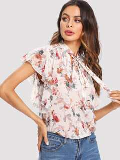 Tie Neck Ruffle Trim Floral Top