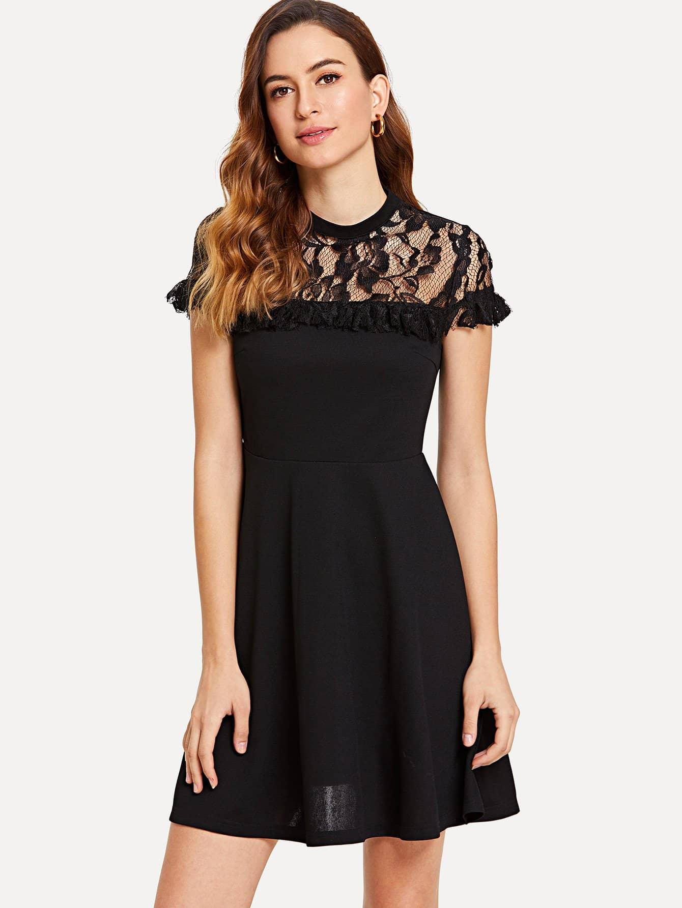 Floral Lace Yoke Skater Dress floral lace yoke skater dress