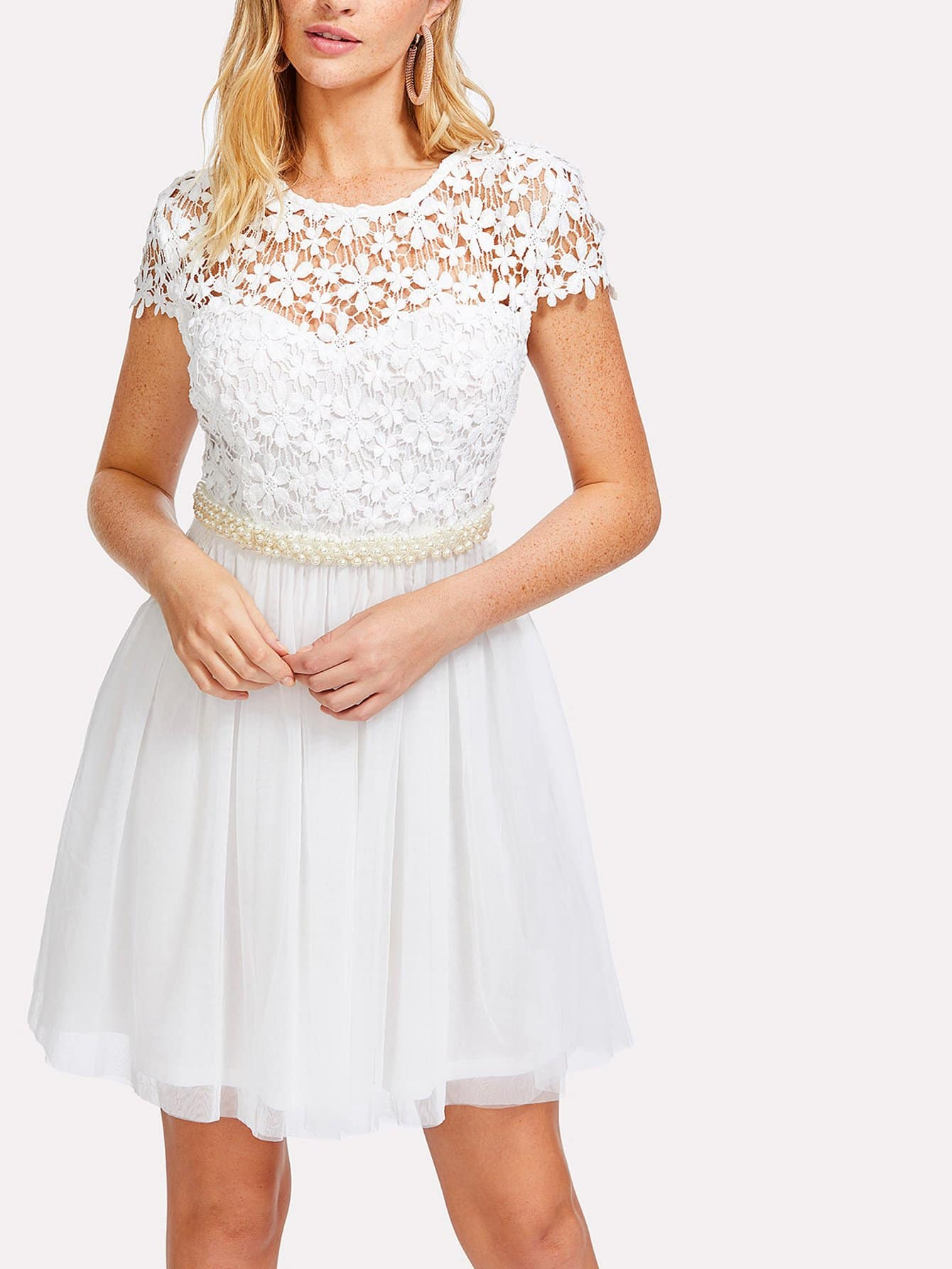 Lace Bodice Bow Tie Back Pearl Detail Dress bow detail longline dress