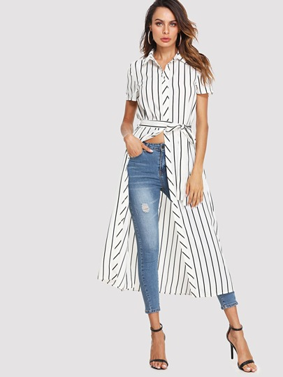 Self Belt Striped Print Kimono