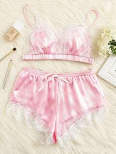 Lace Trim Satin Bralette & Shorts Lingerie Set