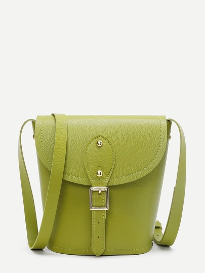 Buckle Detail Flap Crossbody Bag
