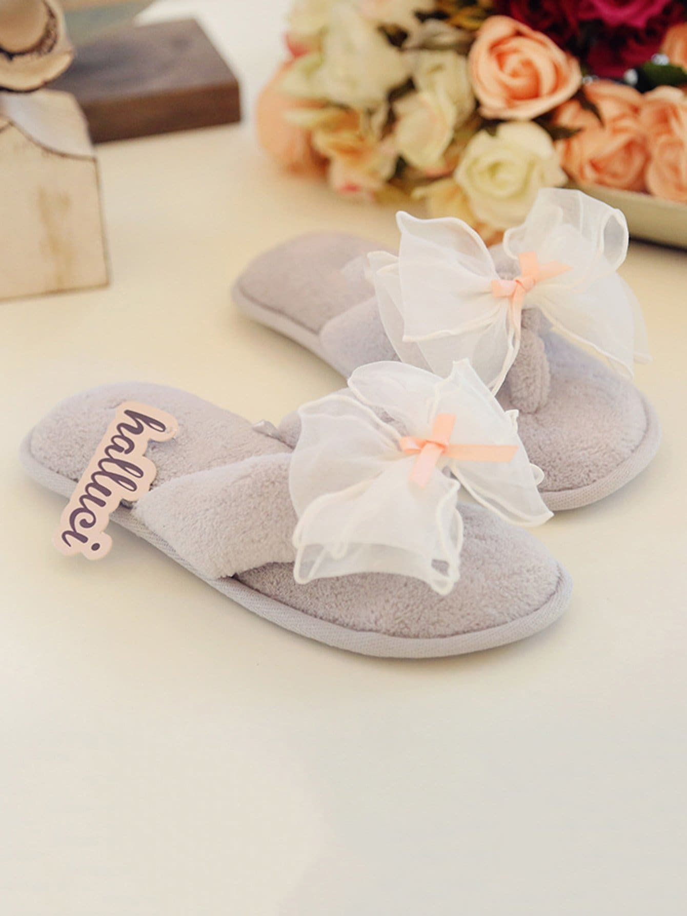 Contrast Mesh Bow Toe Post Slippers мфу ricoh sp 4510sf