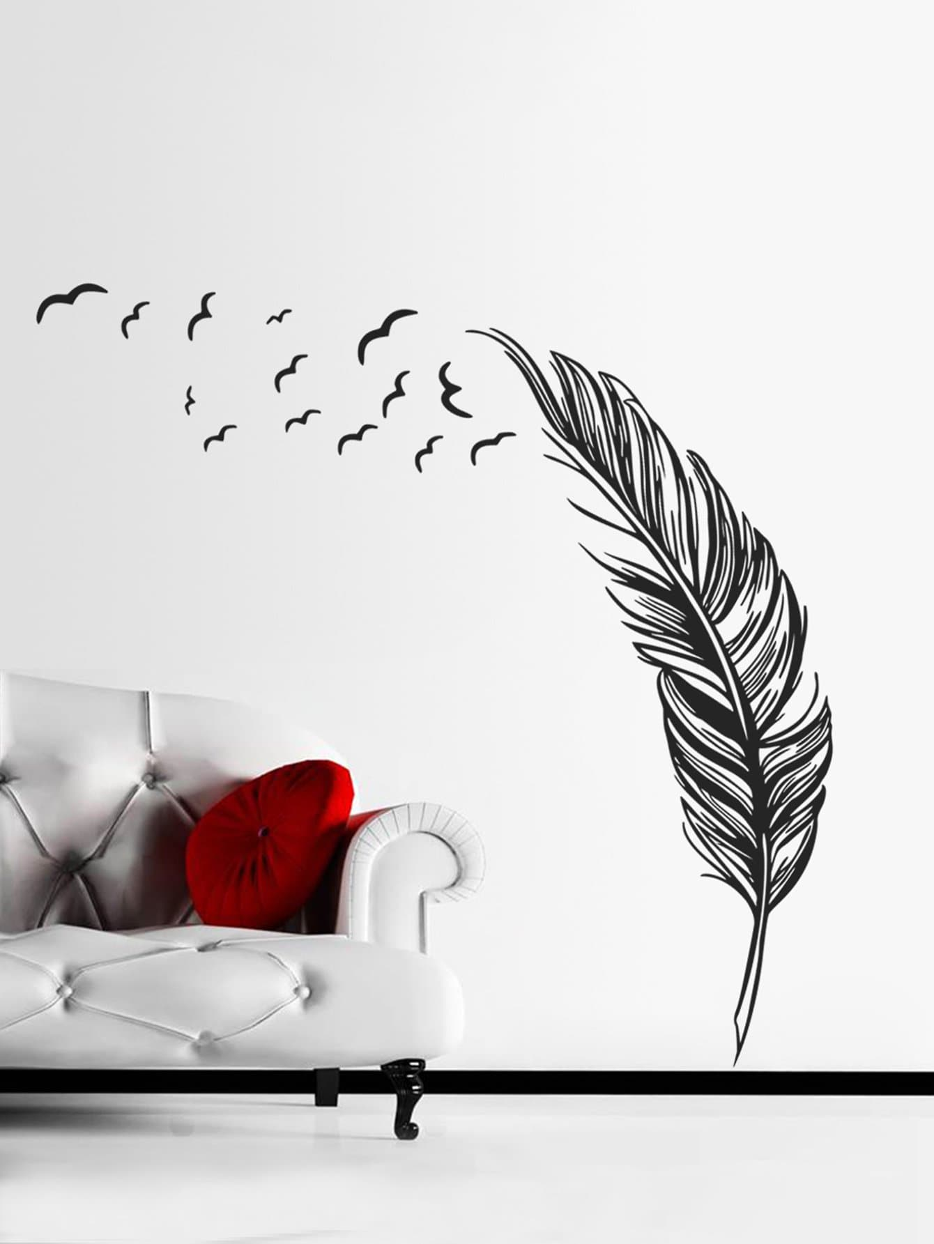 Feather Wall Sticker oversized feather door sticker