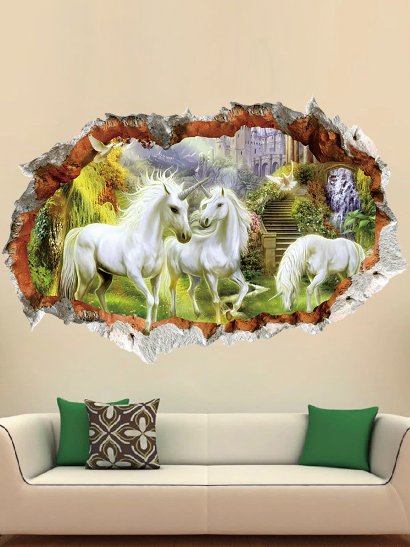 3D Horse Wall Sticker horse in the sunset window view removable wall sticker