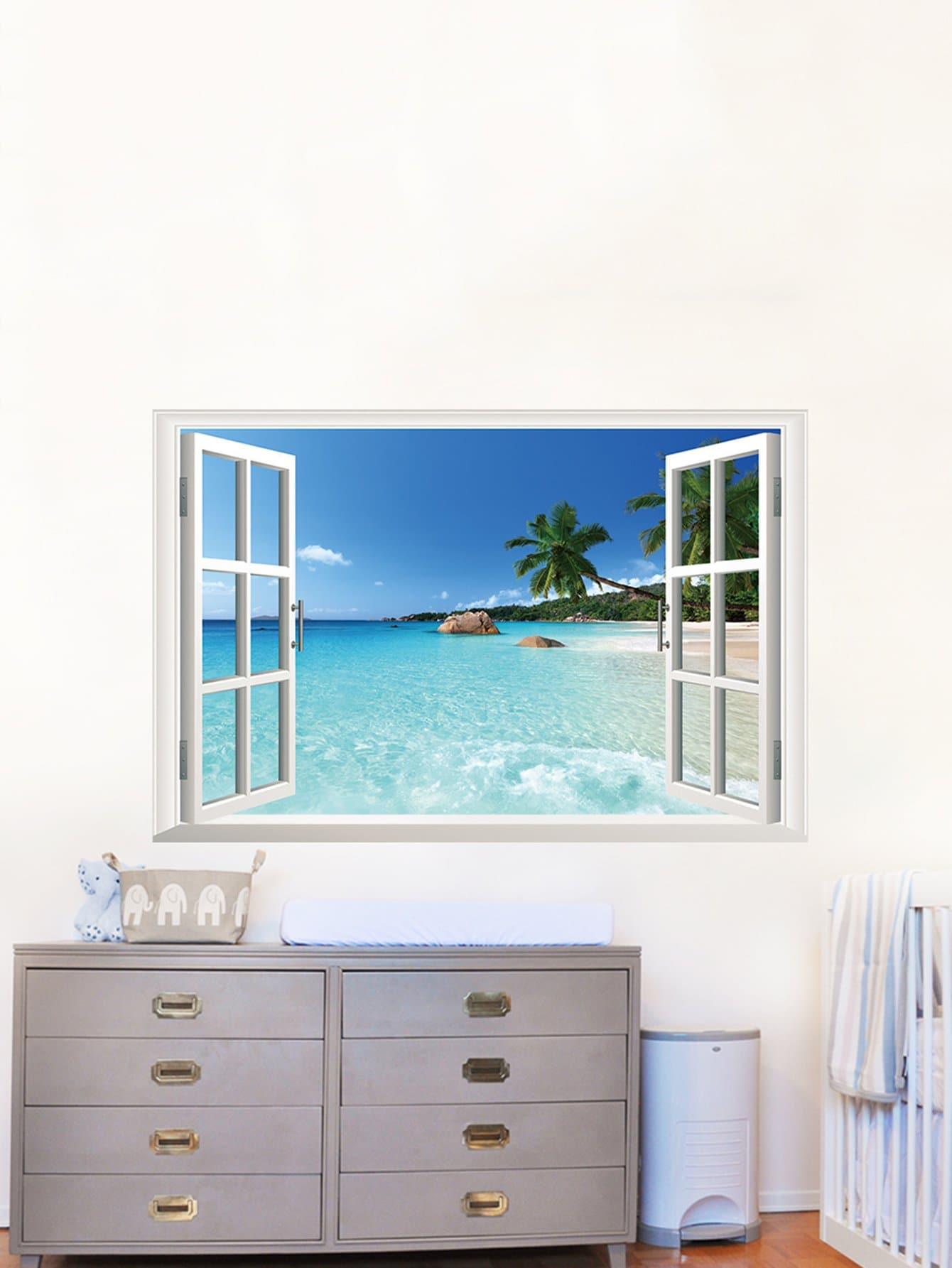 3D Window Wall Sticker 3d window sea night moon wall art sticker