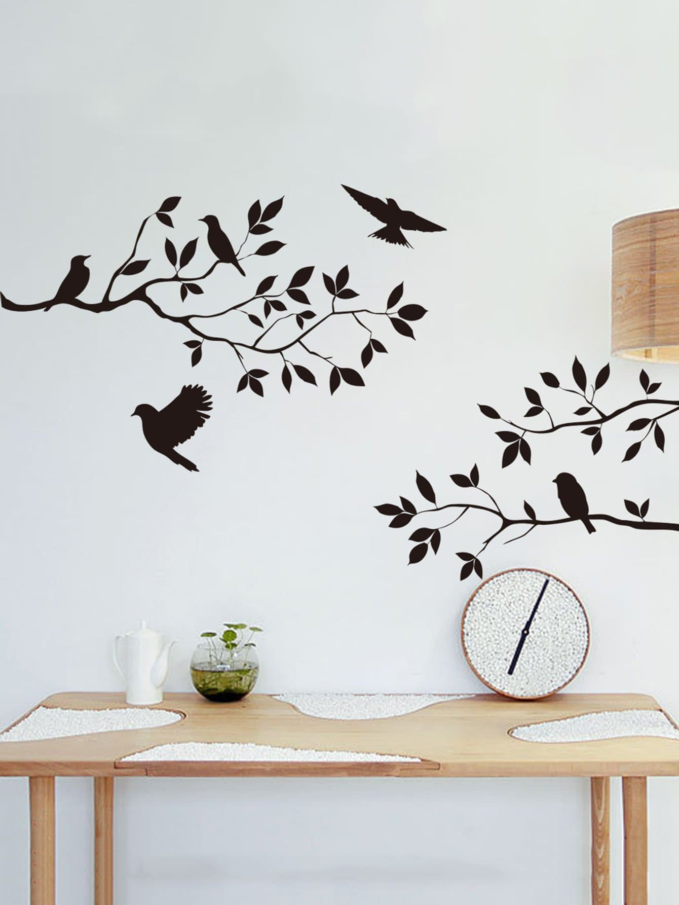 Branch & Bird Wall Sticker sweet branch bird pattern removeable toilet wall sticker
