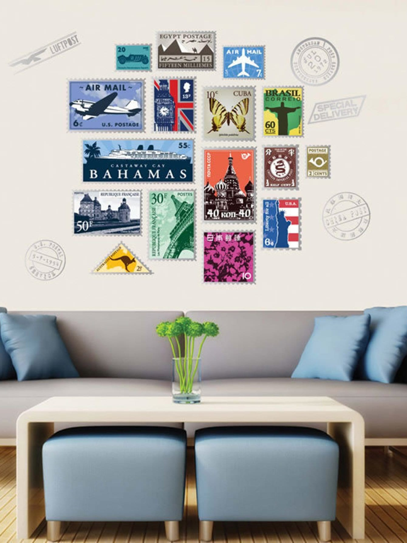 Stamp Wall Sticker scrapbook diy photo cards account rubber stamp clear stamp finished transparent chapter wall decoration 15 18