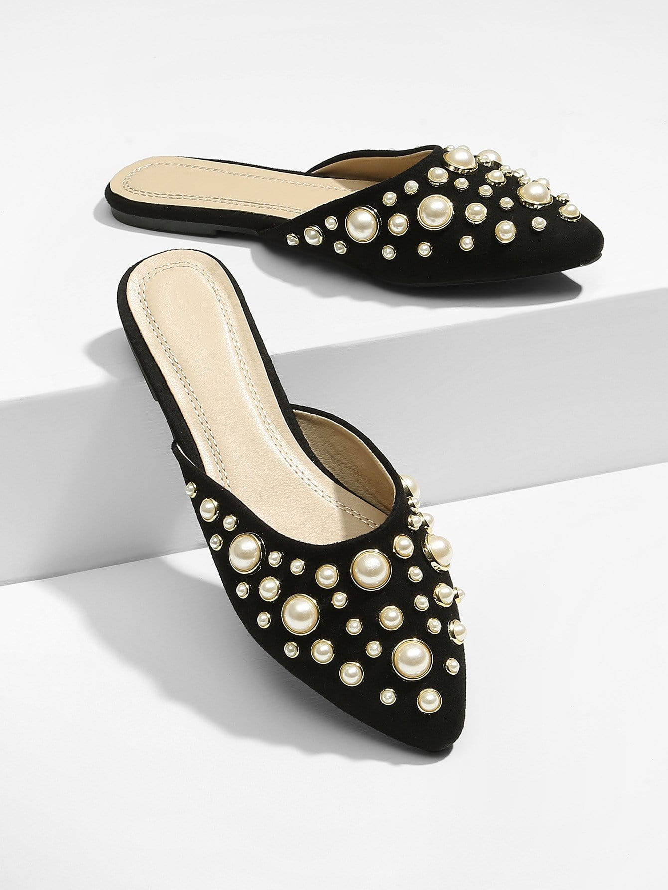 Туфли без задника с жемчужинами