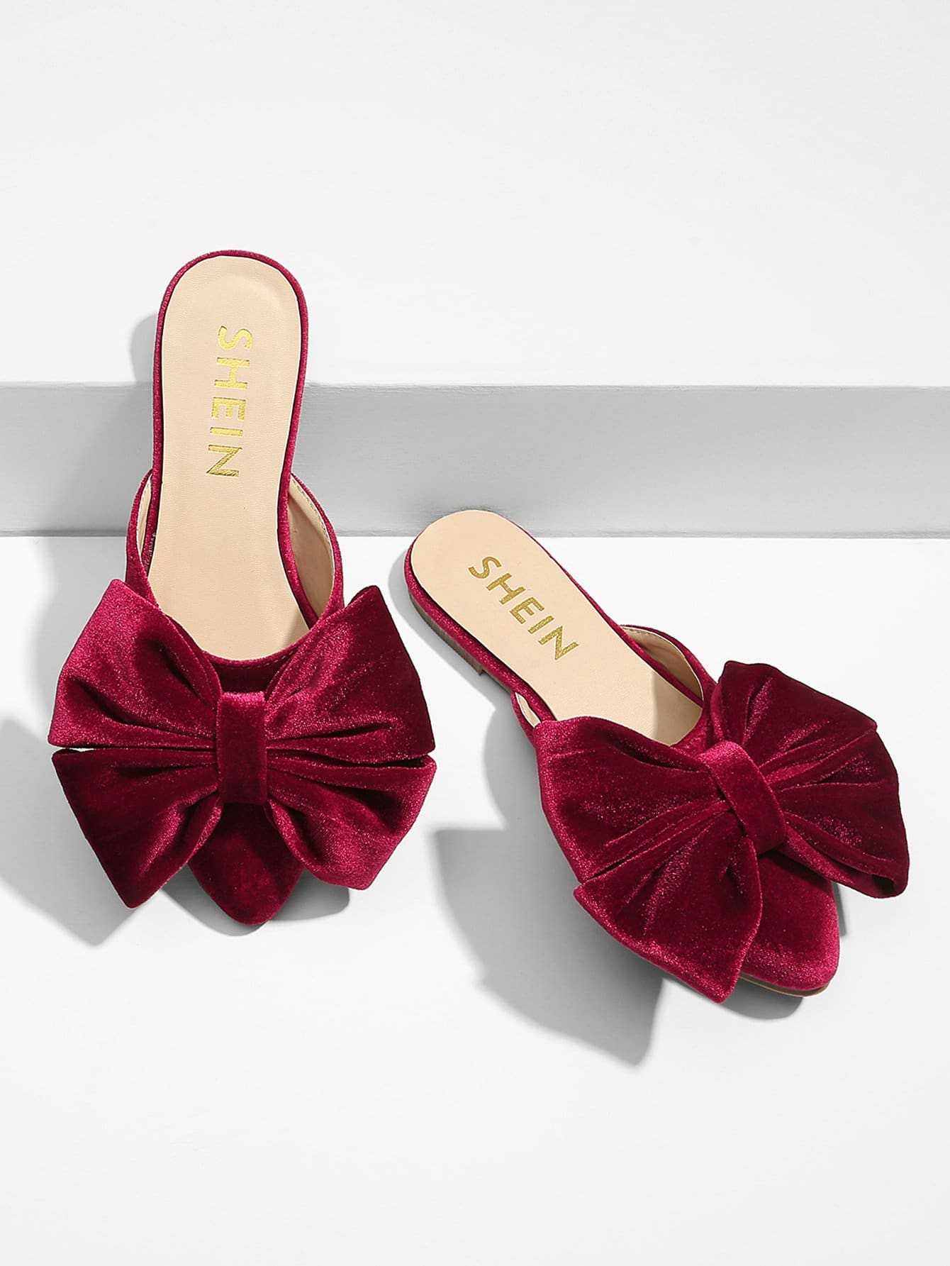 Bow Detail Pointed Toe Mule Flats цена 2017
