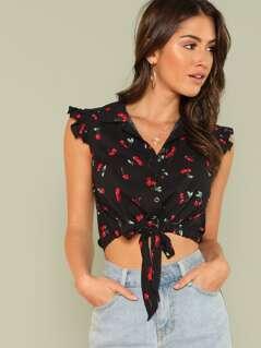 Cherry Print Ruffle Trim Knot Front Shirt