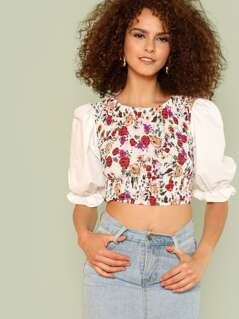 Flounce Sleeve Shirred Floral Top