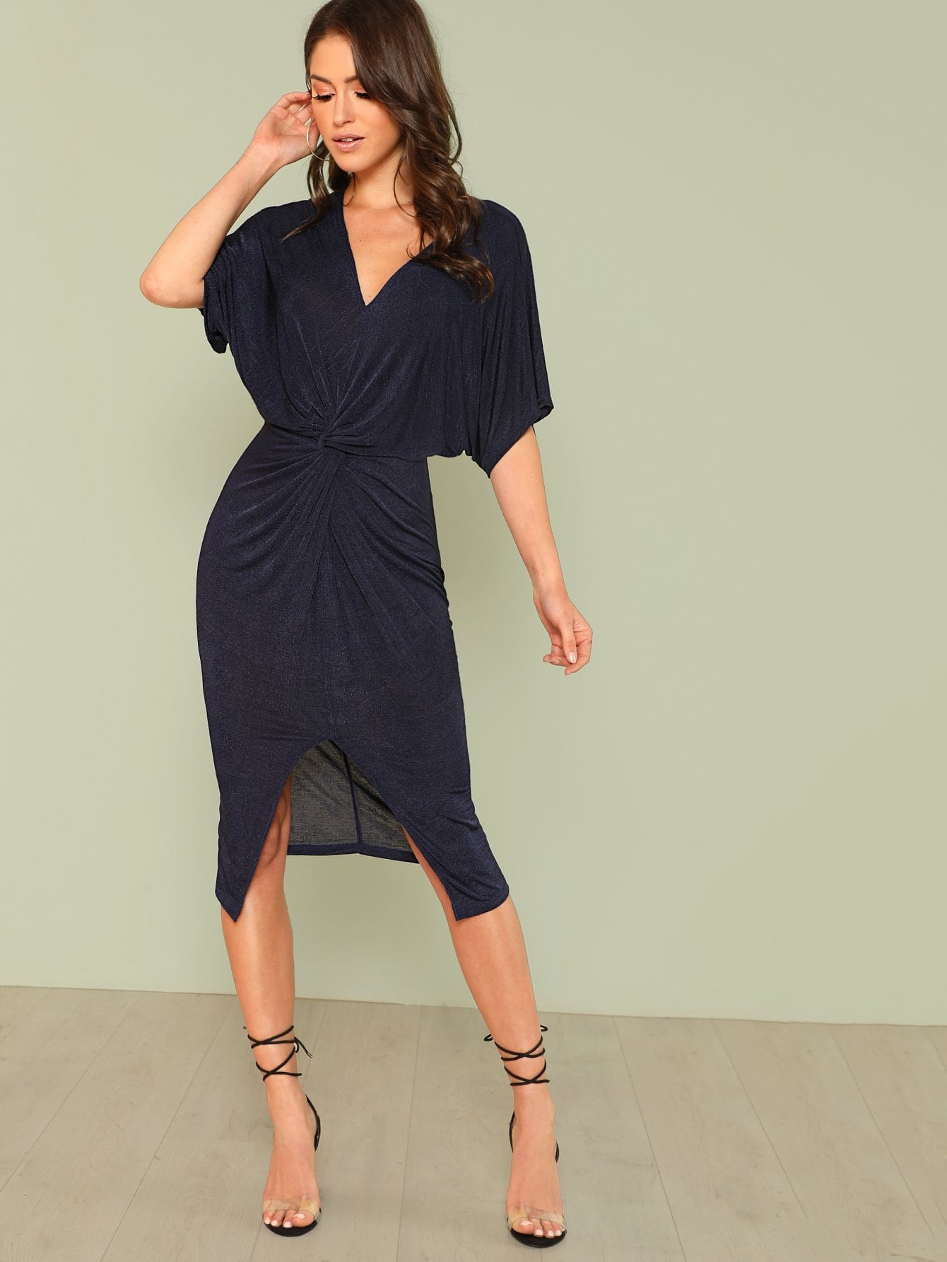 Twist Front Slit Hem Batwing Dress fold over button front slit hem strap dress