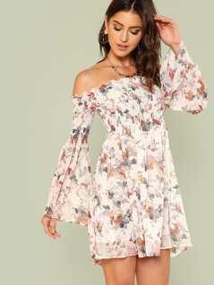 Trumpet Sleeve Floral Smock Dress
