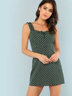 Ruffle Strap Knot Detail Dot Dress