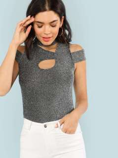 Cut Out Insert Glitter Tee