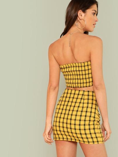 7734e7fe9 Plaid Print Shirred Strapless Crop Top And Skirt Set, Gigi Paris - shein.com  - imall.com