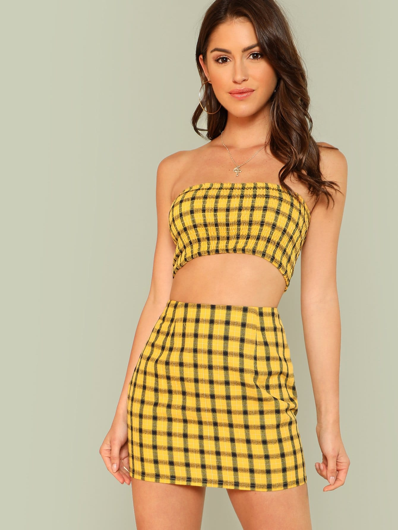 Plaid Print Shirred Strapless Crop Top And Skirt Set zip back plaid crop top and skirt set