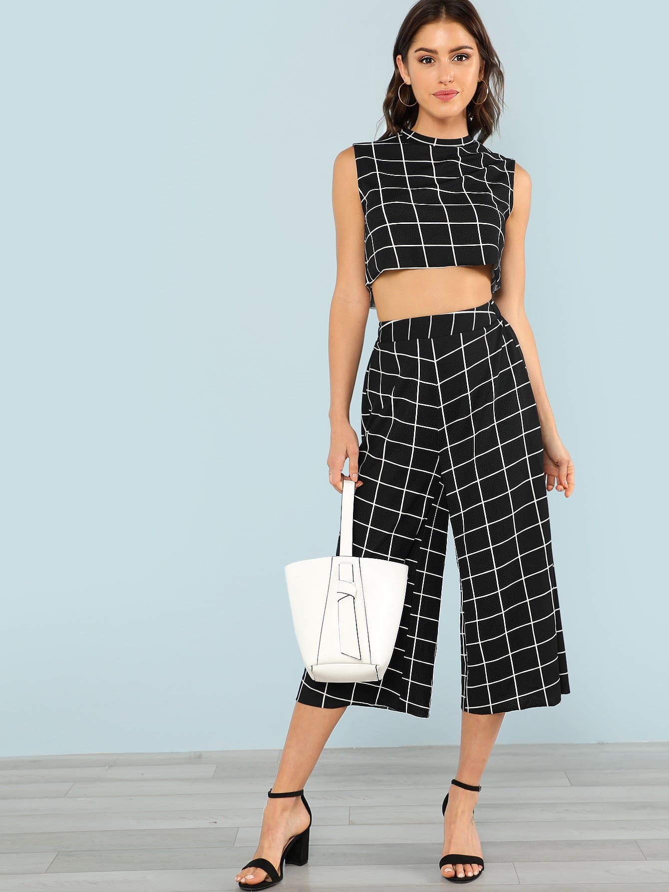 Grid Print Crop Top & Wide Leg Pants Set wide leg grid crop pants