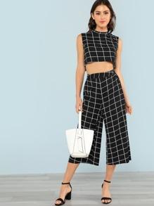 Grid Print Crop Top & Wide Leg Pants Set