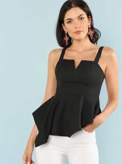 Thick Strap Asymmetrical Ruffle Hem Shell Top