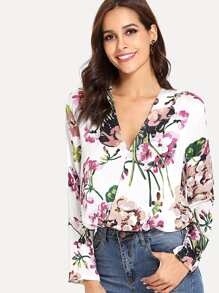 Botanical Print Surplice Wrap Blouse