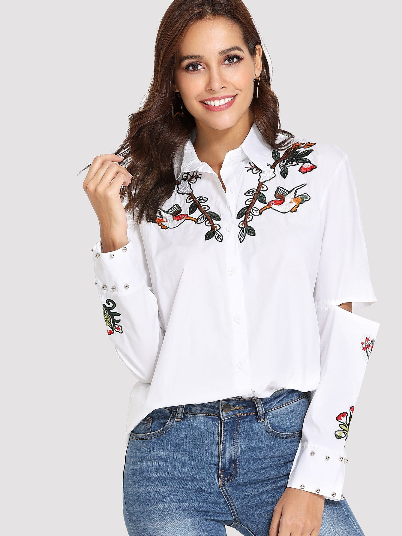 Floral & Birds Embroidered High Low Shirt smile face embroidered high low t shirt